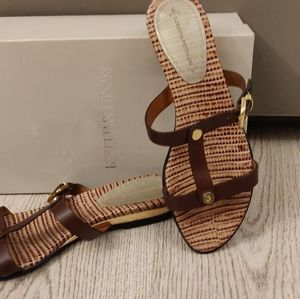 Loretta Pettinari (Italy) Genuine Leather Brown Flip-Flops